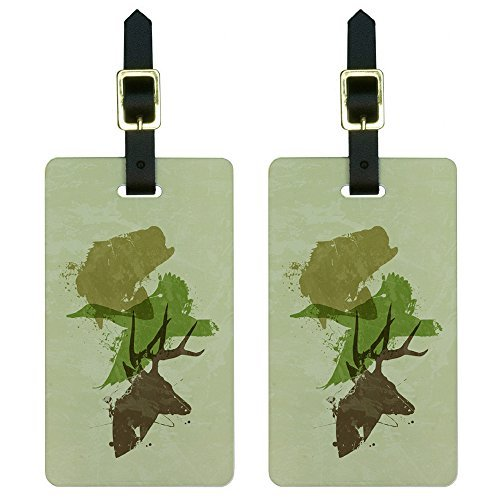 - Graphics & More Hunting Fishing Design-Hunter Deer Duck Bass Trout Camouflage Luggage Tags Set, White