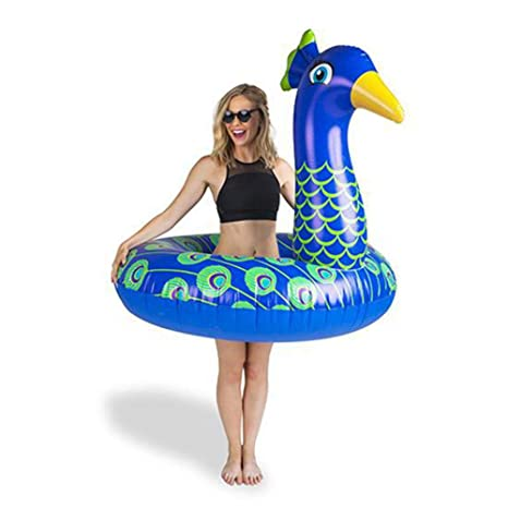 BigMouth Inc – Flotador Hinchable Pavo Real Azul Gigante – Inflable Colchoneta Piscina Playa