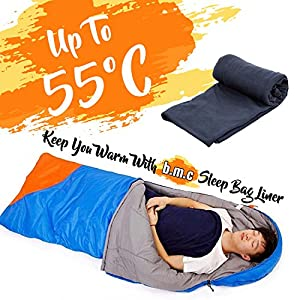 Bundle Monster | Sleeping Bag Liner Travel Sheet Camping Sleep Sack | Lightweight, Compact, Zippered Microfiber Fleece | Add Up to 10F Extra for Cold Weather Climates |Soft, Warm & Cozy - Dark Gray