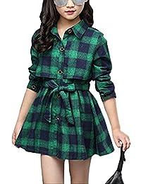 Gooket Little & Big Girls' Plaid Long Sleeve Button Down Shirt Dress