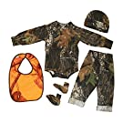 Mossy Oak Camo Baby Gift Set Boys LS Onesie Shirt Pant Cap Booties Bib 3-6M