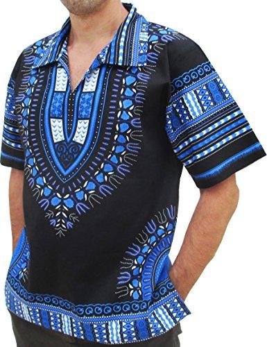 RaanPahMuang Brand European Collar Short Sleeve Shirt African Black Dashiki Art