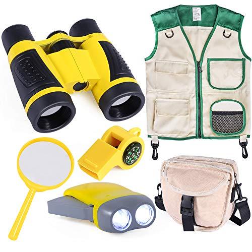 INNOCHEER Outdoor Explorer Kit with Vest & Crossbody Bag, Children Adventure Paleontologist Costume Set with Binocular, Magnifying Glass, Hand-Crank Flashlight,2-in-1 Whistle for Kids Boys Girls 3+