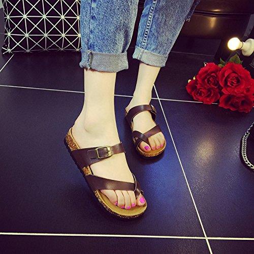 cork grandi gomma di XIAMUO sandali dimensioni di punta 41 suola flip studente in estate piedi pantofole marrone spiaggia antiscivolo Versione ladies' Set piatto flop coreana clip di qFFzwEI8