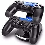 GPCT Dual USB PlayStation 4 Controller Charging Dock (Charges Two PS4 Controllers, LED Charge Indicator Light, USB Powered, Detachable Stand Base) - Black