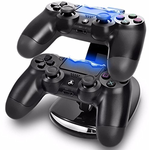 - GPCT Dual USB PlayStation 4 Controller Charging Dock (Charges Two PS4 Controllers, LED Charge Indicator Light, USB Powered, Detachable Stand Base) - Black