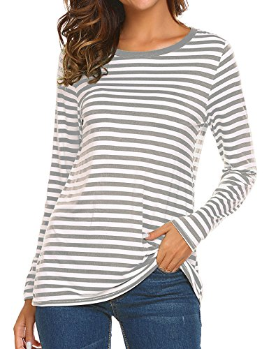 OURS Woemen's Striped Shirts Stripe Tunic Tops Long Sleeve Grey, M - Stripe Long Sleeve Tunic