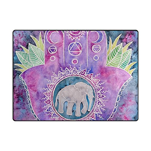 TSWEETHOME Doormat Area Rugs Welcome Mats with Creative Hand Print Elephant for Chair Mat Floor Mat (63 x 48 in & 80 x 58 -