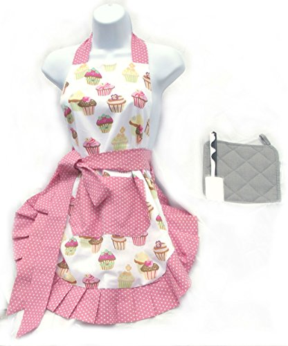 Color-N-Splash Adorable Apron Three Piece Gift Sets Including Charming Apron, Quality Hot Pad, Fun Spatula (Cupcake Apron Set) ()