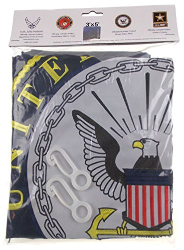 US Navy Flag Double Sided Nylon Embroidered 3x5 Bundled with Flag Clips