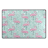 Cheap WOZO Tropical Palm Tree Leaves Pink Flamingo Area Rug Rugs Non-Slip Floor Mat Doormats for Living Room Bedroom 31 x 20 inches