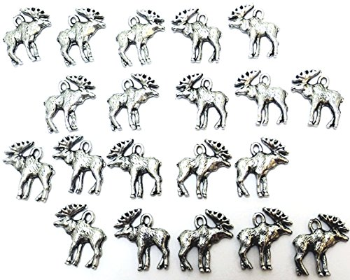 Set of Twenty (20) Silver Tone Pewter Moose Charms
