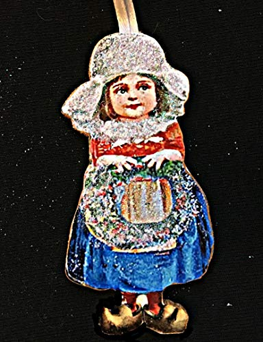 Dutch Girl, Handcrafted Wood, Christmas Ornament, Ellen Clapsaddle, Antique Postcard, White Cap. Lace Apron, Wooden Shoes, Christmas Wreath