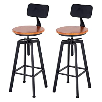 Surprising Amazon Com Adjustable Swivel Bar Stools Wood Bar Stool Machost Co Dining Chair Design Ideas Machostcouk
