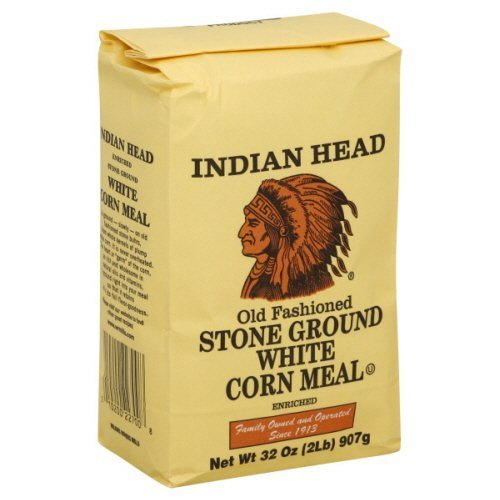 Indian Head Corn Meal Old Fashioned Stone Ground White 2 Lbs (2 Pack)
