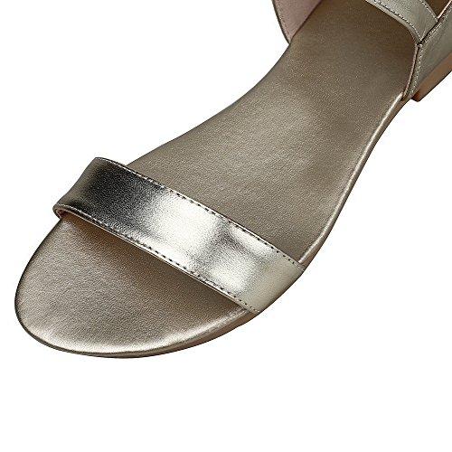 AalarDom Mujer Cremallera Puntera Abierta Mini Tacón Pu Sólido Sandalias de vestir Gold