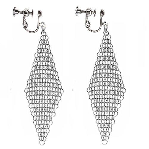 Clip On Earrings Hollow Geometric Earrings Dangle No Piercing Silver-tone Plated Proms by Menoa