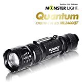 Monster Light 2400 Quantum 1300Lumen led Powered Tactical flash light - REAL HARD-Anodizing, 5 modes, adustable focus, water resistant for camping/hiking/emergency/hunting/backpacking/cycling/fishing