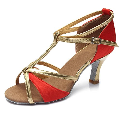 Roymall Kvinna Latinska Dansskor Sällskaps Salsa Tango Prestanda Skor, Modell 255 7cm Röd