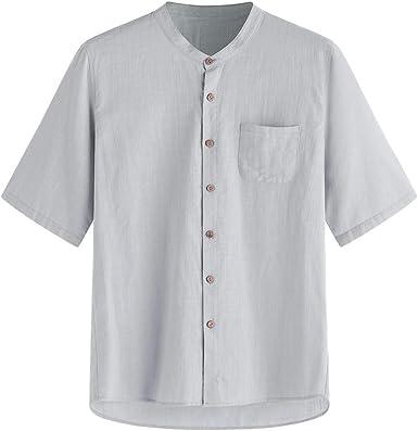 Mens Summer T Shirts,Casual Solid Short Sleeve Loose Button Up Tee Shirts Blouse Top Han Shi