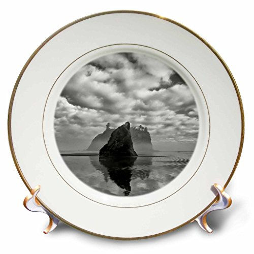 3dRose Danita Delimont - Beaches - Usa, Washington. Black and white image of sea stack on Ruby Beach - 8 inch Porcelain Plate ()