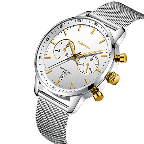 🥇 CHEETAH Relojes Deportivos antisudor para Hombre Reloj Unisex en Modo horario de 24 Horas con Pulsera de Malla de Acero Inoxidable CH1608