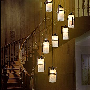 Estilo chino escalera alta araña cinco ocho villas duplex espiral escaleras restaurante araña mucho adornos, 6--enviado LED Dim luz de LED: Amazon.es: Iluminación