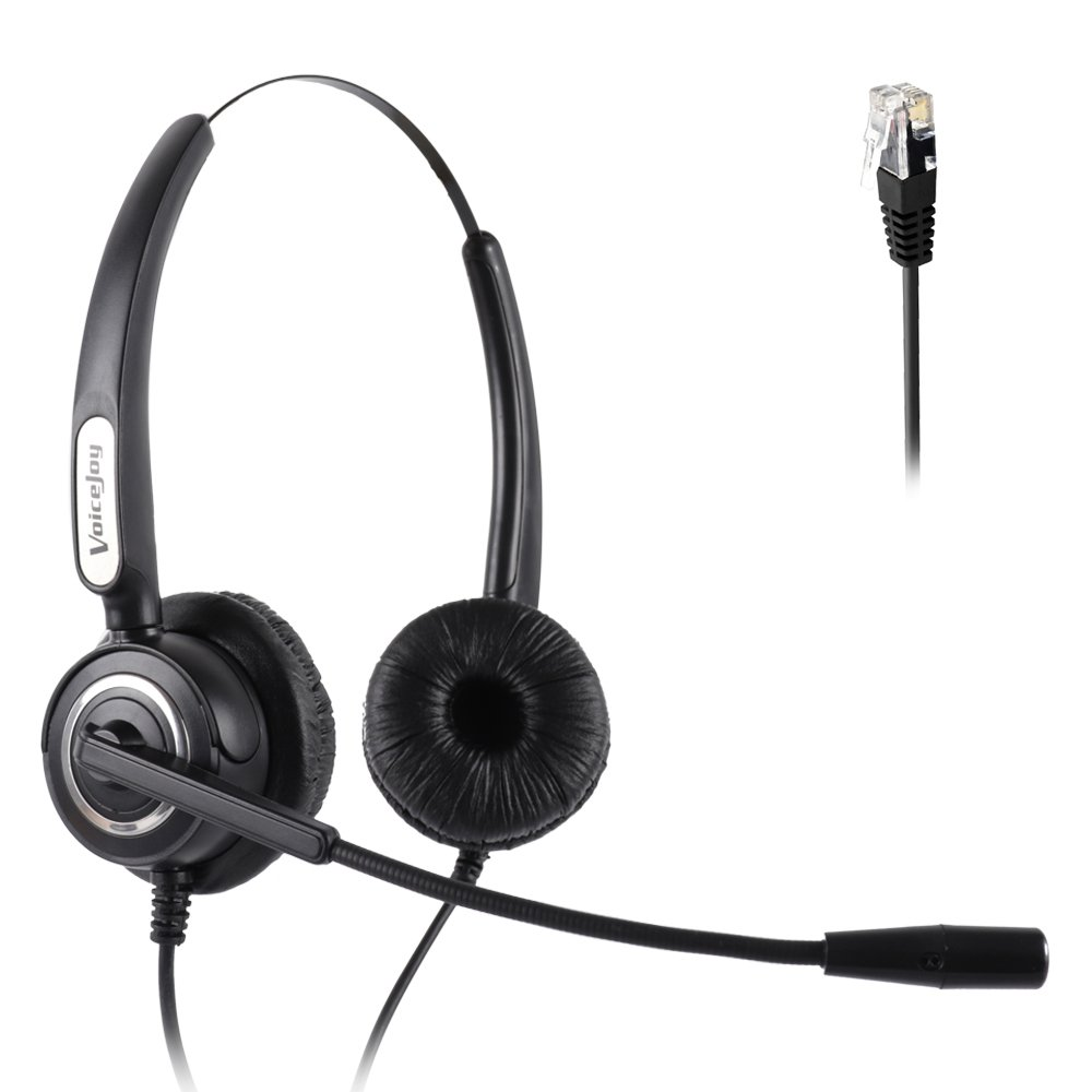 corded rj9 phone headset binaural with noise canceling. Black Bedroom Furniture Sets. Home Design Ideas