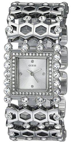 GUESS Women's U0574L1 Feminine Silver-Tone Jewelry-Inspired Watch with Genuine Crystals & Self-Adjsutable Links
