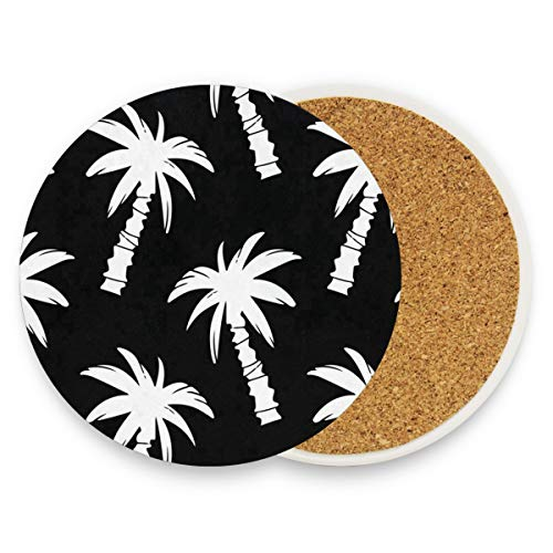 LoveBea Exotic Palm Trees Coasters, Protect Your Furniture from Stains,Coffee, Wood Coasters Funny Housewarming Gift,Round Cup Mat Pad for Home, Kitchen Or Bar Set of 4