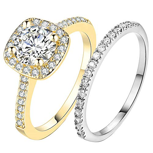AONEW Wedding Bands for Women Engagement Ring Two-Tone Set White/Gold Princess Cut White AAA Cz Size 5-10 Size 6 (Triple Tone Wedding Bands)