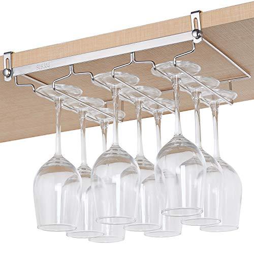 DEFWAY Wine Glass Rack - Storage Stemware Holder under Shelf 3 Rows Hanger Organizer Hanging Shelf for Bar Kitchen