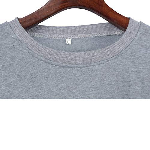 Ragazza Basic Casual T Lunghe LAIKETE Tinta Strisce Shirt Oversize Top Maglietta a Donna Autunno Blusa Sportive a Sweatshirt Tumblr Eleganti Maniche Casuale Girocollo Grigio Pullover Unita Inverno Felpa X1wX7Z