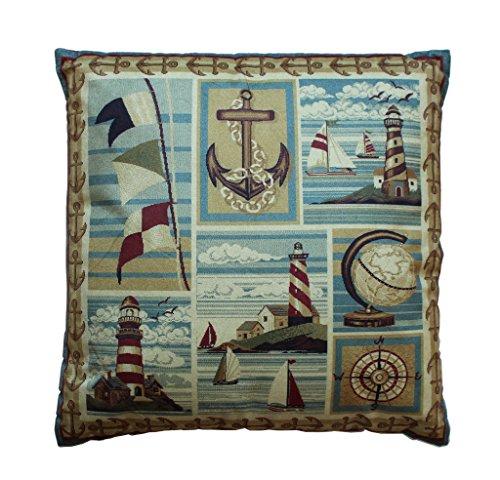 Decorative Throw Pillow Nautical Scene 18x18 Inch