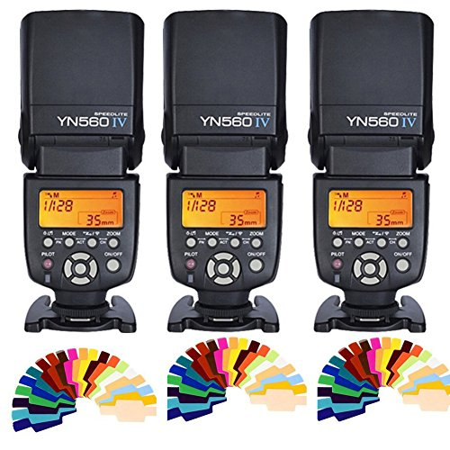 (Yongnuo YN560 IV 2.4G Wireless Flash Speedlite 3pcs+Color filters for Canon Nikon Olympus Sony Pentax)
