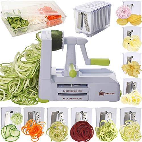 Brieftons 10-Blade Spiralizer: Strongest-and-Heaviest Vegetable Spiral Slicer, Best Veggie Pasta Spaghetti Maker for Low…