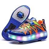 Nsasy LED High Top Roller Sneaker Single Wheel Double Wheel Light up Shoes (32 EUR/2 M US Little Kid, Black/Red (Single Wheel))