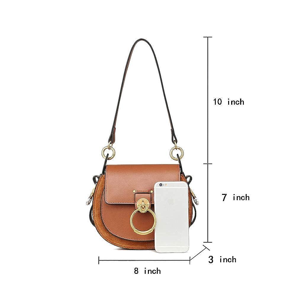 Amazon.com: Lozoco bolso de mano de cuero genuino para mujer ...