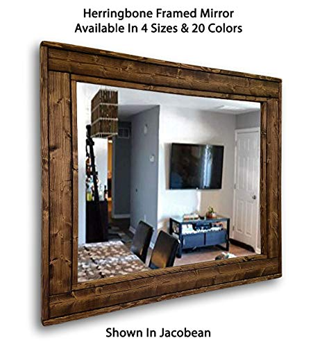 Herringbone Reclaimed Wood Framed Mirror, Available in 4 Sizes and 20 Stain colors: Shown in Jacobean - Decorative Mirror – Livingroom Decor – Wall Decor – 24x30 – 36x30 – ()