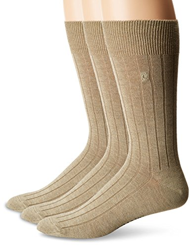 Chaps Men's Solid Rib Casual Crew Socks with Embroidered Logo (3 Pack), Khaki, Shoe Size 6-12/Sock Size 10-13 (Tan Socks Dress)