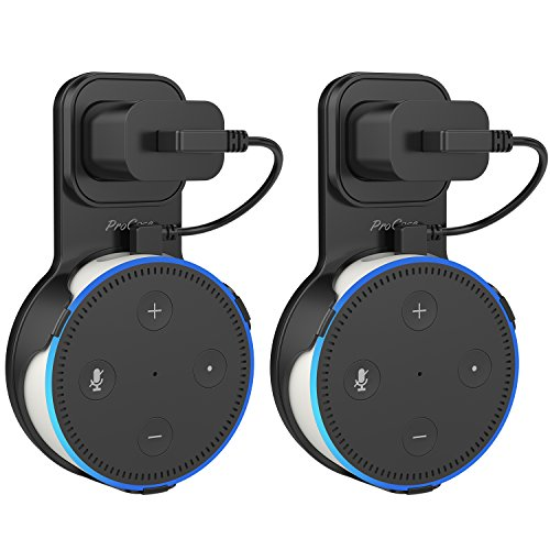 ProCase Amazon Echo Dot Wall Mount Outlet Hanger Clip for Dot 2nd Generation, No Messy Wires or Screws, Amazon Echo Dot 2nd Gen Wall Mount for Bathroom Bedroom Kitchens –Black, 2 Pack by ProCase