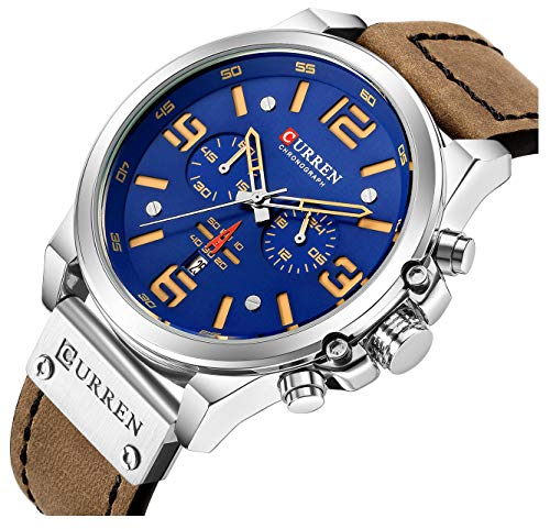 Mens Leather Strap Watches Classic Sandwich Dial Casual Dress Stainless Steel Waterproof Chronograph Date Analog Quartz Watch (A Blue)