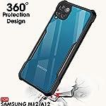 TheGiftKart Back Cover Case for Samsung Galaxy M12 / F12 / A12 (Shockproof | Hybrid TPU & PC | Transparent | Black…