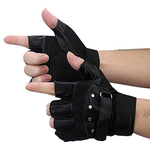Kingfansion Men Soft Fashion Leather Driving Motorcycle Biker Fingerless Warm Gloves