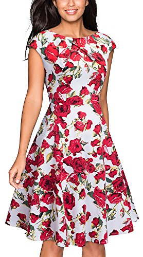 (VELJIE Women's Vintage Scoop Neck Casual Party Flare Dress (White/Red Flower, 8))