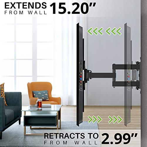 """TV Mount Bracket Max VESA 600x400mm for Most 42-75 inch Flat Screen/LED/4K TVs, USX MOUNT Full Motion TV Wall Mount Dual Swivel Articulating Tilt 6 Arms Up to 16"""" Wood Stud, Weight Capacity 100lbs"""
