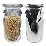 4.7x9.1 inch Stand Up Foil Reusable Grocery Bags with Penguin Design for Candy Cookies Nuts Storage Three Packing Material Aluminum Foil Closure Take Out Containers Doypack (aluminum foil, 50 pcs)
