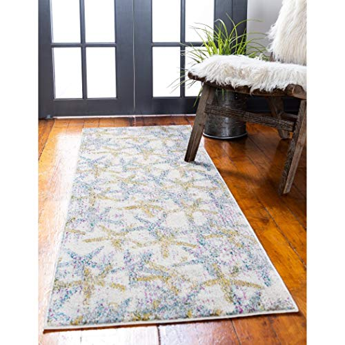 AB 2'2 x 6'7 Yellow Grey Seashell Pattern Runner Rug Rectangle, Indoor Gray Beige Beach Theme Hallway Carpet Geometric Sea Shell Star Fish Patterned Floor Cover Coastal Nautical, Polypropylene