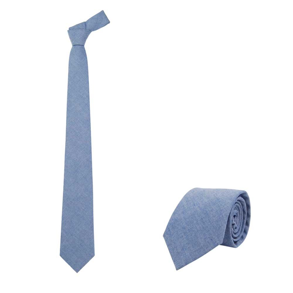 Jnjstella Men's Cotton Solid Necktie 3.15'' Tie Blue