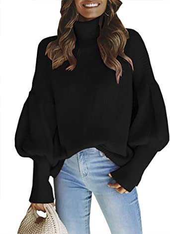 QZUnique Womens Loose Turtleneck Long Puff Sleeve Knit Pullover Sweater Jumper Top